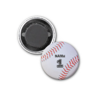 Personalized baseball magnet. 3 cm round magnet