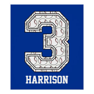 Personalized Baseball Number 3 Poster
