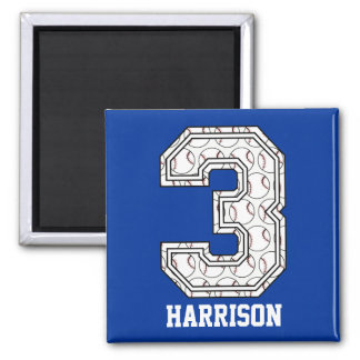 Personalized Baseball Number 3 Square Magnet