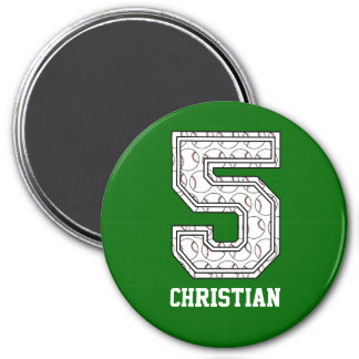 Personalized Baseball Number 5 7.5 Cm Round Magnet