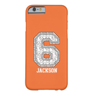 Personalized Baseball Number 6 Barely There iPhone 6 Case