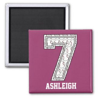 Personalized Baseball Number 7 Square Magnet