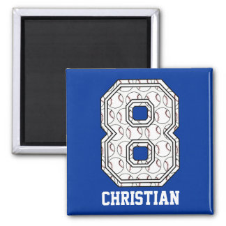 Personalized Baseball Number 8 Square Magnet