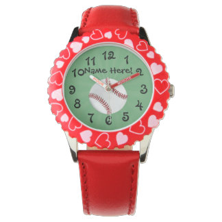 Personalized Baseball on Green Kids Boys Watch