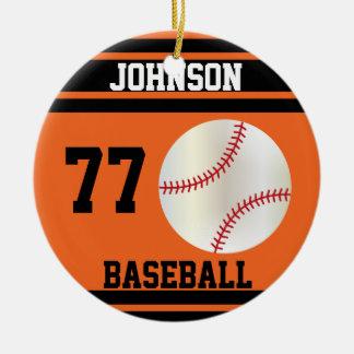 Personalized Baseball   Orange and Black Ceramic Ornament