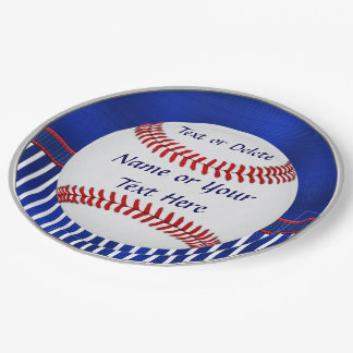 Personalized Baseball Paper Plates, 2 Text Boxes 9 Inch Paper Plate