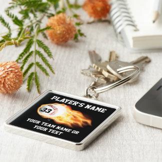 Personalized Baseball Senior Gifts Flaming Ball Key Ring