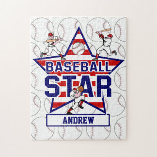 Personalized Baseball Star and stripes Jigsaw Puzzle
