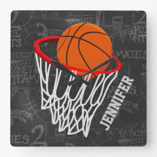 Personalized Basketball and hoop Wallclock