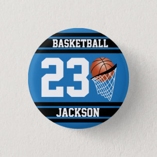 Personalized Basketball Blue and Black 3 Cm Round Badge