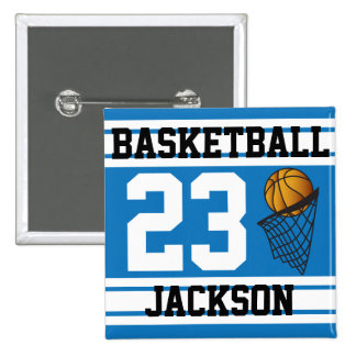 Personalized Basketball Blue and White 15 Cm Square Badge