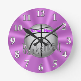 Personalized Basketball Clocks for Girls Room