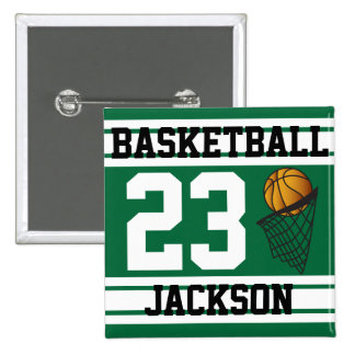 Personalized Basketball Dark Green and White 15 Cm Square Badge
