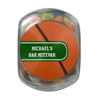 Personalized Basketball Green And White Team Color Jelly Belly Candy Jar