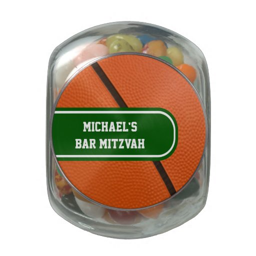Personalized Basketball Green And White Team Color Glass Candy Jar