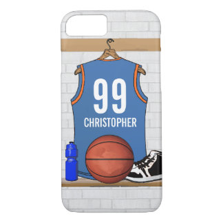 Personalized Basketball Jersey Light Blue | Orange iPhone 8/7 Case