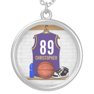 Personalized  Basketball Jersey (PG) Silver Plated Necklace