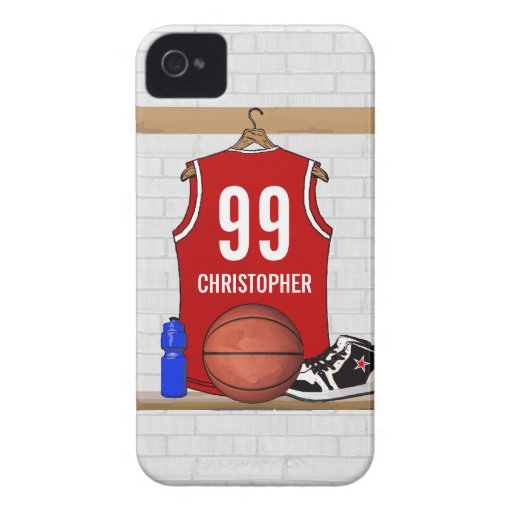 Personalized Basketball Jersey (red) iPhone 4 Cover