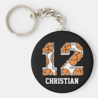 Personalized Basketball Number 12 Key Ring