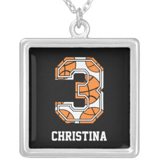 Personalized Basketball Number 3 Silver Plated Necklace