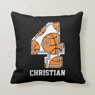 Personalized Basketball Number 4 Cushion