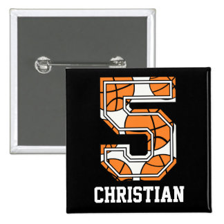 Personalized Basketball Number 5 15 Cm Square Badge