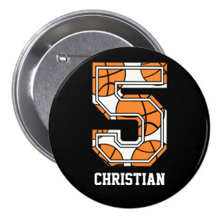 Personalized Basketball Number 5 7.5 Cm Round Badge