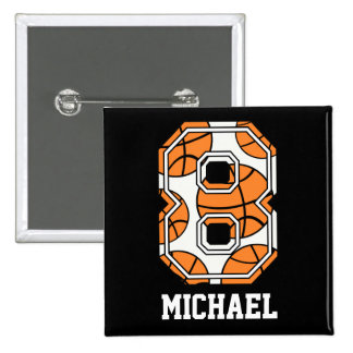 Personalized Basketball Number 8 15 Cm Square Badge