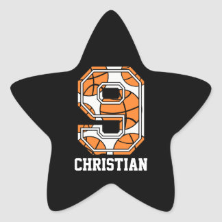 Personalized Basketball Number 9 Star Sticker