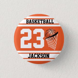 Personalized Basketball Orange and White 3 Cm Round Badge