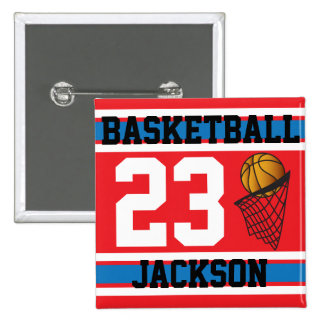 Personalized Basketball Red, White and Blue 15 Cm Square Badge