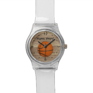 Personalized Basketball Wood Floor Watch