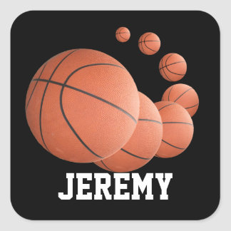 Personalized Basketballs in the AIr Square Sticker