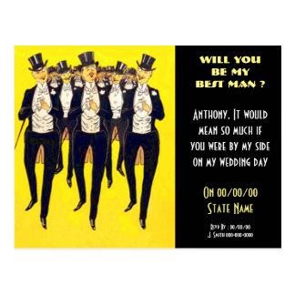 Personalized be my best man, groomsmen postcard