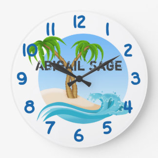 Personalized Beach and Palm Trees Tropical Wallclocks