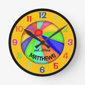 Personalized Beach Ball Name and Year Round Clock