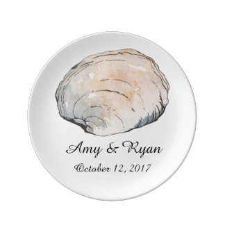 Personalized Beach Clam Shell Wedding Porcelain Plate