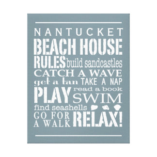Personalized Beach House Rules Gray | White Gallery Wrap Canvas