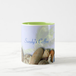 Personalized Beach Shells, Palm Trees Coffee Mug