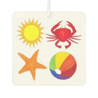 Personalized Beach Sun Beachball Crab Starfish Car Air Freshener