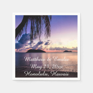 Personalized Beach Sunset Wedding Napkins Disposable Napkin
