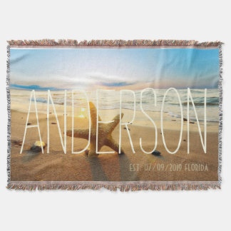 Personalized Beach Wedding Beach House Custom Throw Blanket
