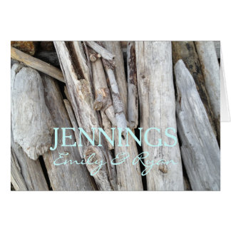 Personalized Beach Wedding Driftwood Thank You Card