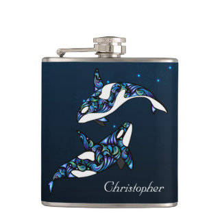 Personalized Beautiful Orca Whales Beach Wedding Hip Flask