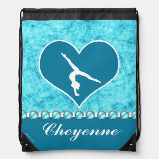 Personalized Beautiful Turquoise Gymnastics Drawstring Bag
