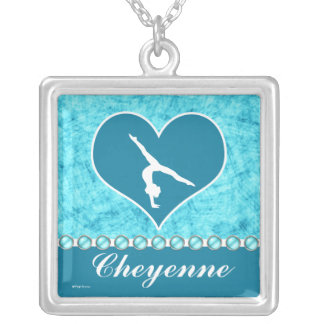 Personalized Beautiful Turquoise Gymnastics Square Pendant Necklace