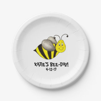 Personalized Bee Day Bumblebee Birthday Bday Plate 7 Inch Paper Plate