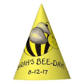 Personalized Bee Day Yellow Bumblebee Birthday Party Hat