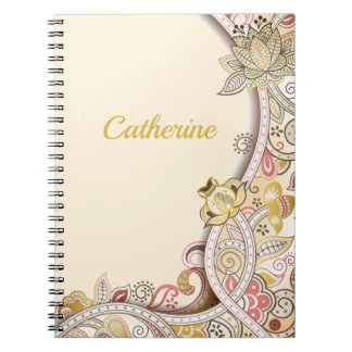 Personalized Beige Floral Side Frame Pattern Spiral Notebook
