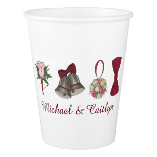 Personalized Bells Flowers Bouquet Wedding Cups